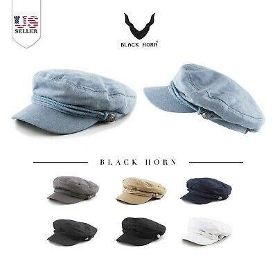 BLACK HORN Cotton Greek Fisherman's Sailor Fiddler Driver Hat Cap