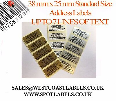 Personalised Gold/ Silver/ White Pre Printed Standard Size Sticky Address Labels