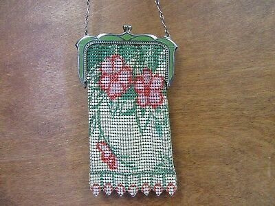 Vintage Whiting and Davis Enameled Metal Mesh Art Deco 1920's Flapper Purse