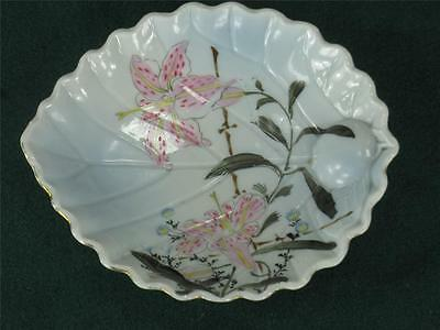 JAPANESE Lily Flowers Dish Bowl Kyoto Satsuma Kutani HAND PAINTED ANTIQUE Leaf