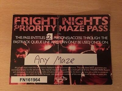 Fright Night Priority Thorpe Park Fast Track Pass Any Maze 12 Ticket