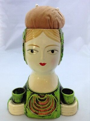 """Lovely Vintage Unmarked 7.25"""" Lady Pin Cushion #80"""