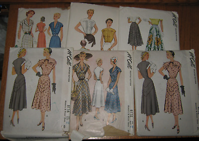 6 - 1950 McCALL PATTERNS SIZES 14, 16, 20 & BUST SIZE 40 & 42 DRESSES, BLOUSES +