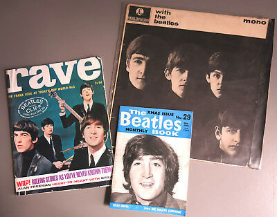 Beatles 1963 Vinyl LP 'With the Beatles', Rave Mag No 6, Beatles Monthly Book 29