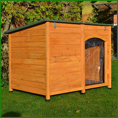 Extra Large Wooden Dog Kennel Sloped Roof Kennels Dog House Puppy Opening Roof +