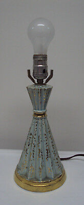 Vintage Antique Mid Century Modern Atomic Table Lamp Turquoise And Gold
