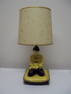 Vintage 1950 Unisco Mid Century Asian Boy Table Lamp with Fiberglass Shade