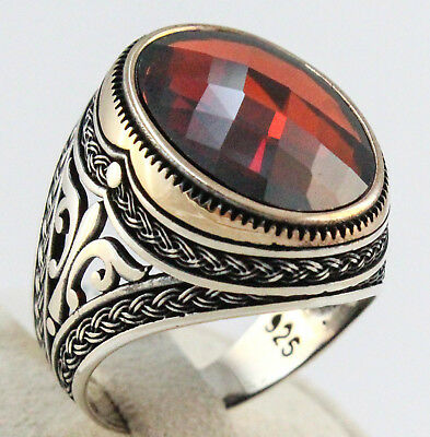 TURKISH Ottoman 925 Sterling Silver Ruby Faceted Men Luxury Men Ring All Sizes