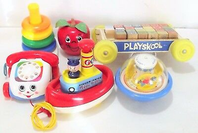 6 EACH Vintage PLAYSKOOL & FISHER PRICE Toys LOT Tuggy Tooter Phone Happy Apple