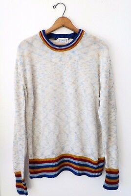 Vtg 70s Andros Abstract Pattern Striped Mod Surf Skate Retro Crewneck Sweater M