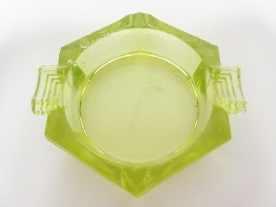 Rare Akro Agate Transparent Pea Green Hexagonal Ashtray