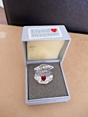 Very Cute Clear  Crystal Oyster With Red Crystal Heart New In Box Like Swarovski