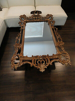 Authentic Labarge Raw Wood Vintage Chinoiserie Chippendale Pagoda Wall Mirror