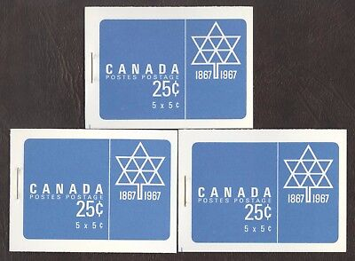 Stamps Canada # Bk55, 1967, lot of 3  Booklets MNH stamps.