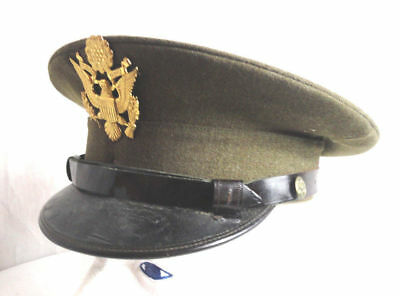WW2 US Army Officers Cap  Hat Size 7, 18 VGC Union made