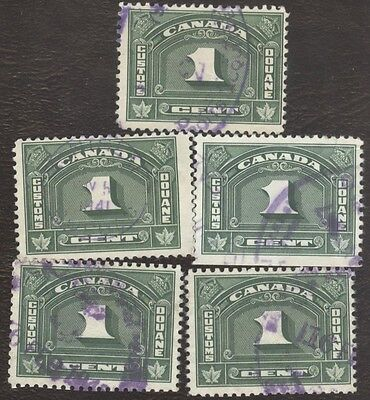 Revenue Stamps Canada # FCD 6, 1¢, 1935, customs duty, lot of 5 used stamps.