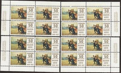 Stamps Canada # 492, 50¢, 1969, 4 plate blocks of 4 MNH stamps.