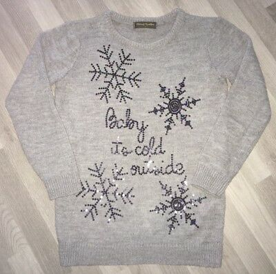 Mothercare Grey Maternity Christmas Jumper Size S- Baby It's Cold Outside