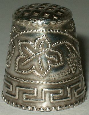 Sterling Silver Thimble from Greece, Vines & Grapes