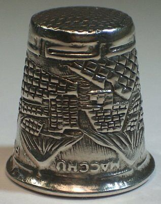 Hand Crafted Sterling Silver MACCHU PICCHU Souvenir Thimble from Peru