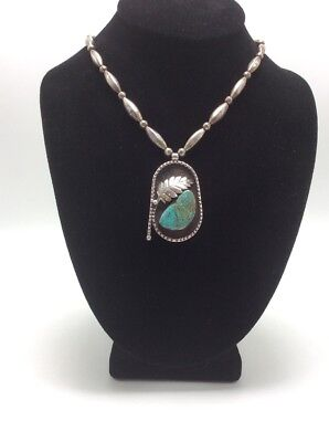 """Vintage Sterling Silver & Turquoise Handmade 24"""" Necklace, 43.4g"""