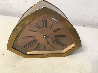 Beautiful Antique French Brass Art Deco Desk Clock By CH Hour
