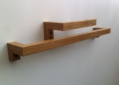Solid Oak Face/Hand Towel Rail And Solid Oak Toilet Roll Holder Left Side