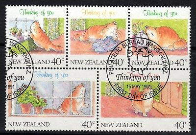 """N Z, SG1604a, 1991 """"Thinking of You"""", Booklet Pane of 5 x 40c Stamps, Fine Used"""