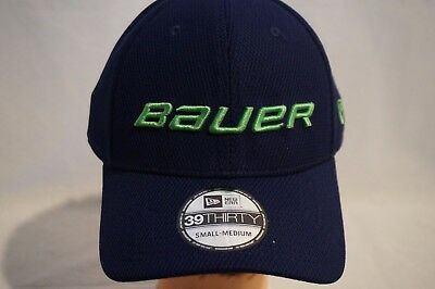 BAUER HOCKEY Men s New Era 39THIRTY Fitted Hat Ball Cap Blue Green S M NWT 2c9871e76830