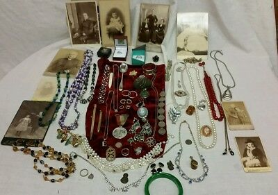 Rolled Gold , Solid Silver Jewellery, Medal,spoon,victorian Photos,rings ,coin,