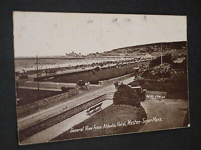 1920s Weston super Mare View from Atlantic Hotel Vintage B&W Postcard Somerset