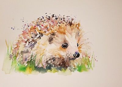 """ELLE SMITH ART. ORIGINAL NEW SIGNED LARGE WATERCOLOUR PAINTING. 16x12"""" HEDGEHOG"""