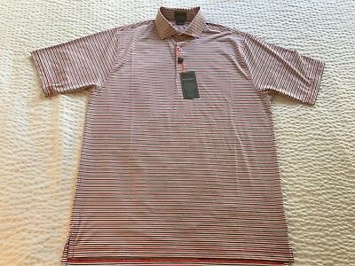 Nwt Fennec Highly Evolved Men's S/s Multi Stripe Red Polo Shirt Men Size M