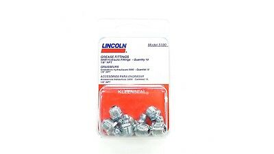 """NEW Lincoln Lubrication Grease Fittings Pack of 10 5190 Straight 1/8"""" NPT"""