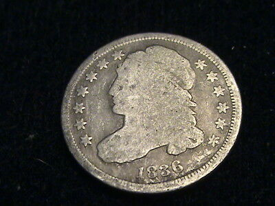 1836 Capped Bust Silver Dime, full date, tough series    D719