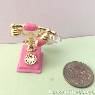 Dolls House **Tiny Pink Old Fashioned Telephone **Collectors Item Or For Barbie.