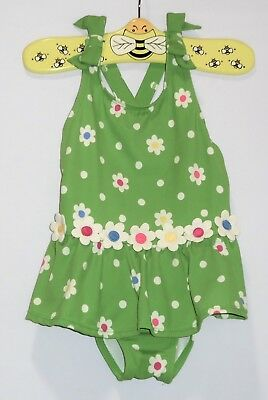 "Gymboree ""Showers of Flowers"" 3D Flowers Polka Dot Green 1pc Swimsuit, 4T"