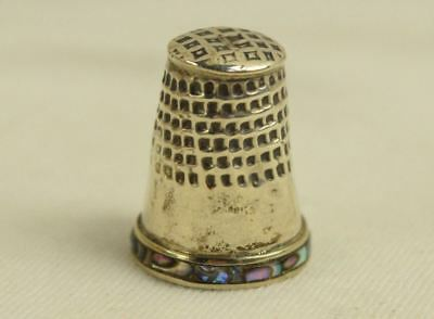 925 Sterling Silver Abalone Shell Inlaid Thimble