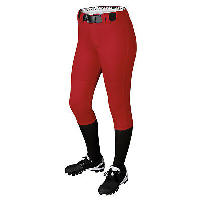 DeMarini Girl's Belted Fastpitch Softball Pant - Scarlet - Large