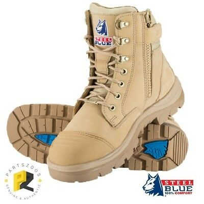 Steel Blue Southern Cross Zip Boots Sand Safety Toe 312661 Bump Cap