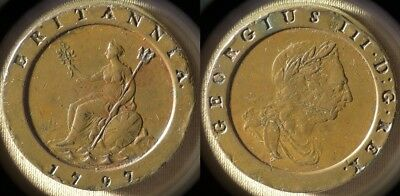Great Britain : 1797 2 Pen. VF+ Many Rim Dings  #619  Low Mint  IR7736