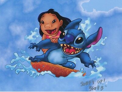 Lilo & Stitch Surfing Signed Autograph Tribute Print With COA