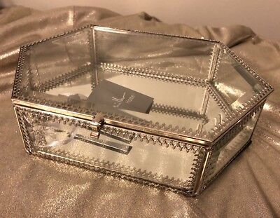 NICOLE MILLER Home Decrotavive Glass Trinket Mirrored Jewelry Box