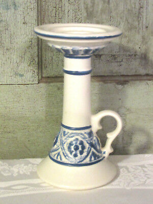 Haeger USA Blue White art pottery candle Holder VERY NICE & UNIQUE Country Prim