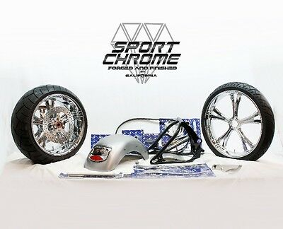 PM Phatail Kit Tires Chrome Wheels COMPLETE for 2000-2006 Harley Softail Fatboy