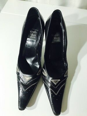 Nandi Muzi Leather Pumps Black Wedges Shoes Heels Size 38.5 Made In Italy