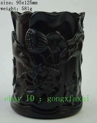 chinese Rosewood wood carved lotus flower leaves brush pot pencil vase statue