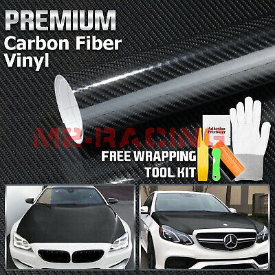"*24""x60"" 7D High Gloss Black Carbon Fiber Vinyl Wrap Bubble Free Air Release 6D"