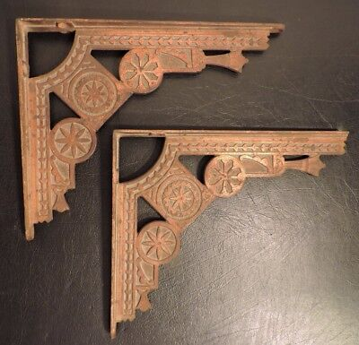 Antique Eastlake Aesthetic Period Shelf Brackets Copper Finish