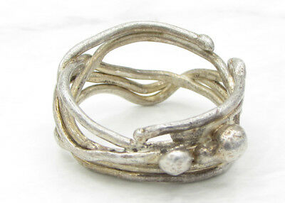 925 Sterling Silver - Vintage Antique Finish Wrapped Vines Band Ring 6g - Sz 8